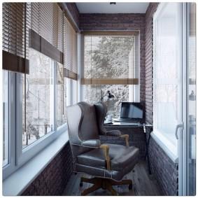 кабинет на лоджии балконе идеи дизайн