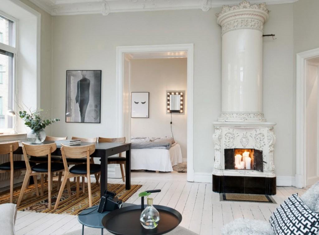 Декоративный камин в гостиной скандинавского стиля