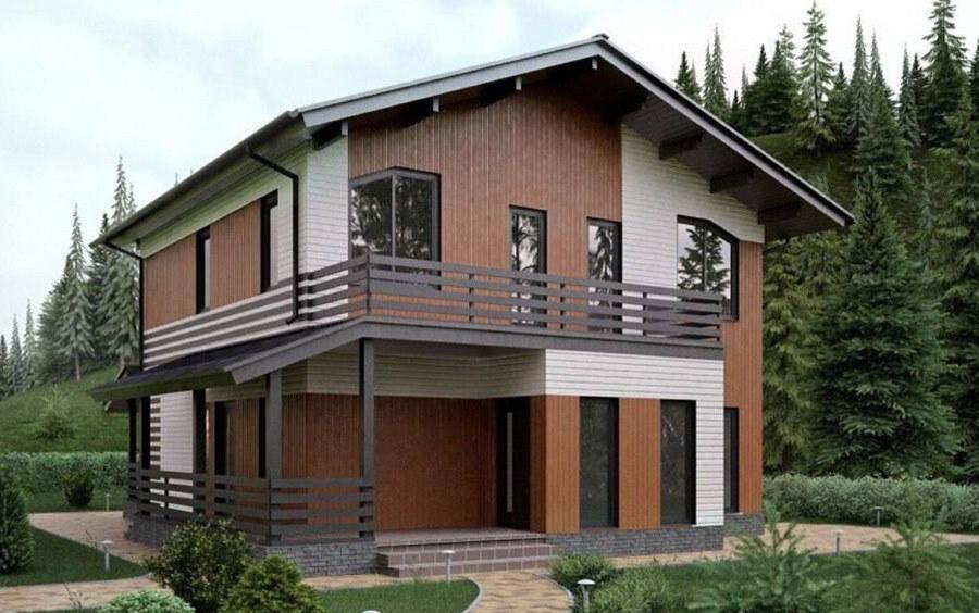Двухэтажный дом каркасного типа с балконом