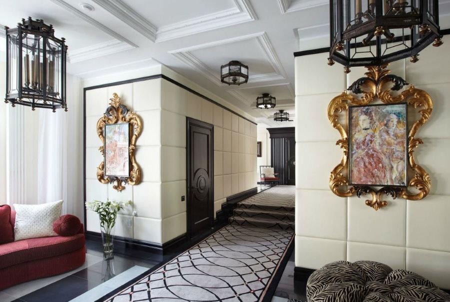 Декор картинами холла в стила арт-деко