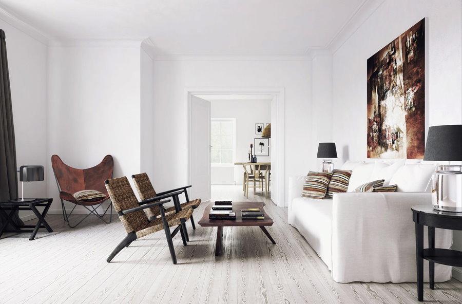 Декор картиной стены в белой гостиной