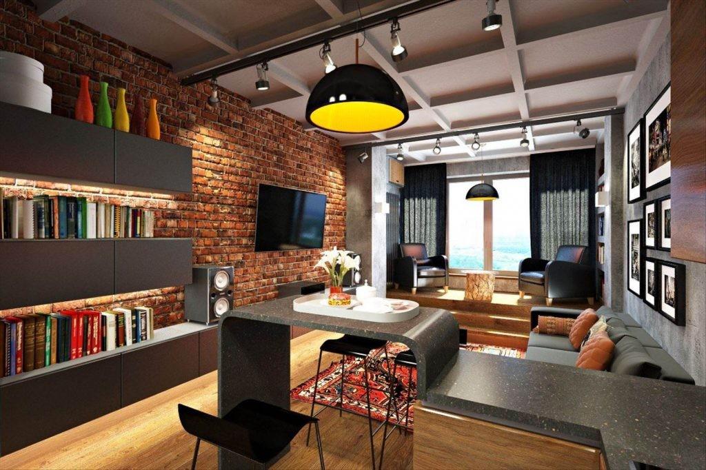Кухня-гостиная в индустриальном стиле интерьера