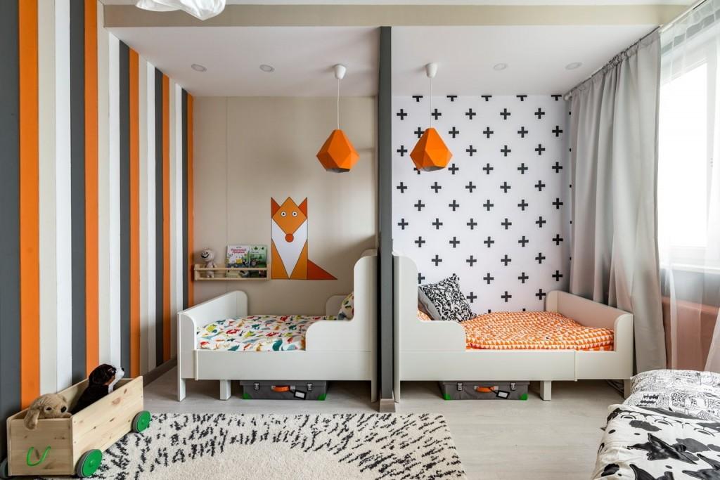 Зонирование обоями детской комнаты для двоих