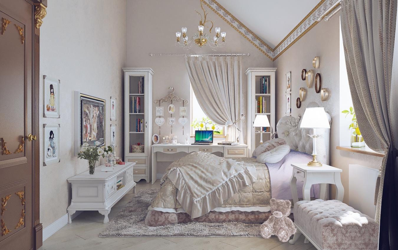 комната в классическом стиле для девочки