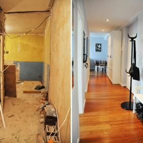 Коридор в трехкомнатной квартире после ремонта
