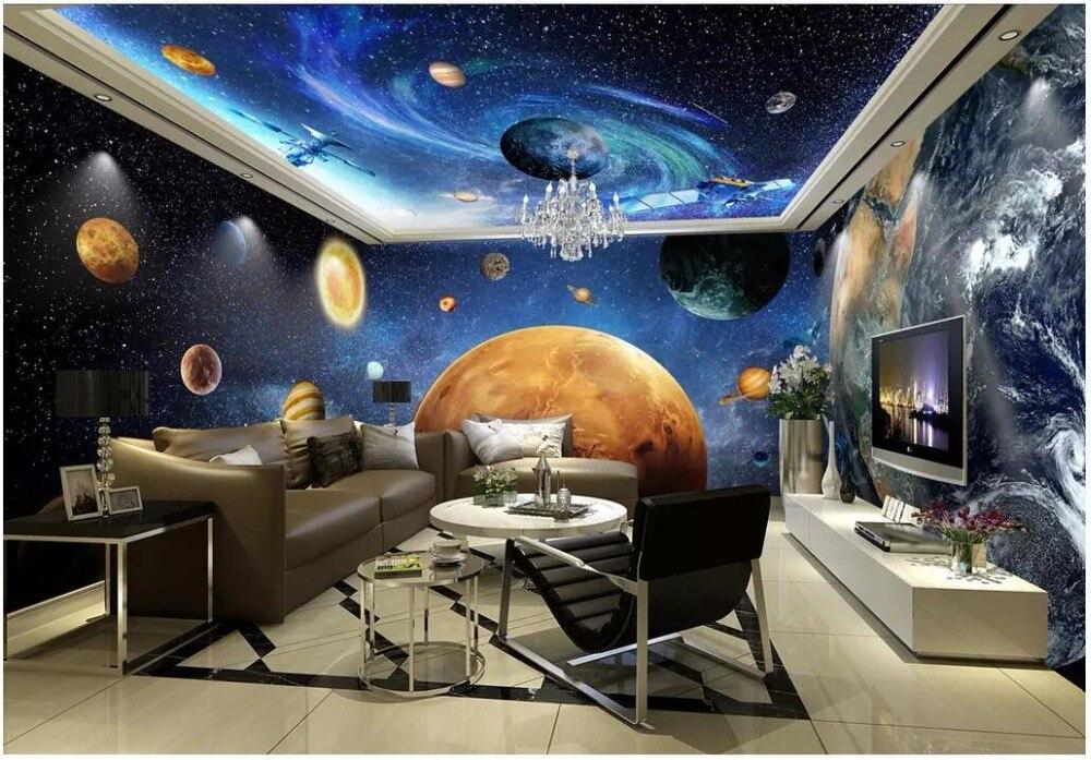 космические обои в гостиной