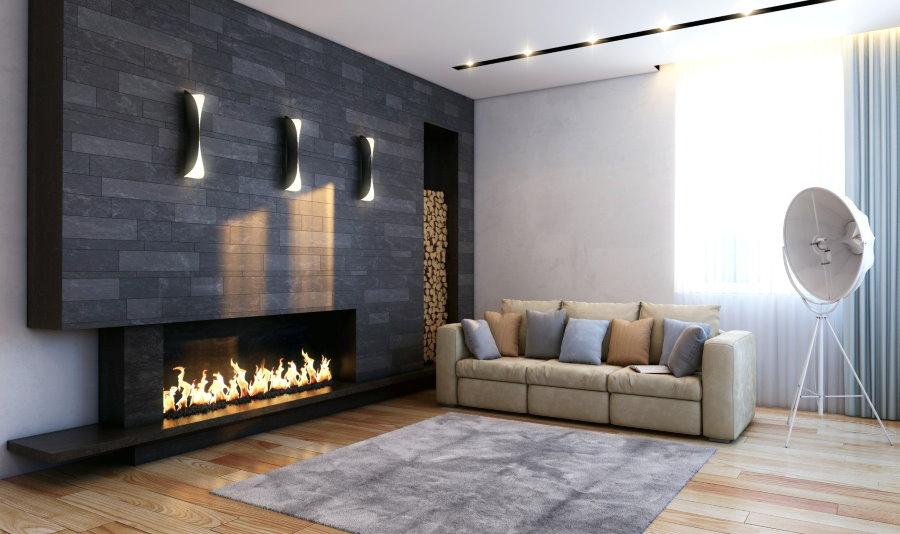 Интерьер гостиной в силе минимализма с ковром