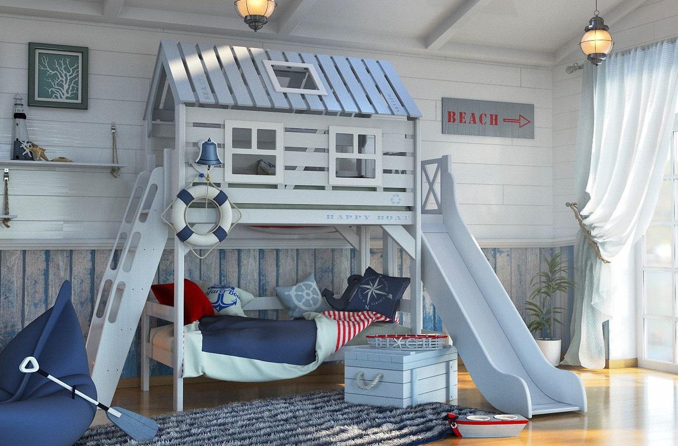 кровать домик в морском стиле
