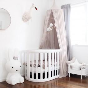 круглая детская кроватка идеи декор