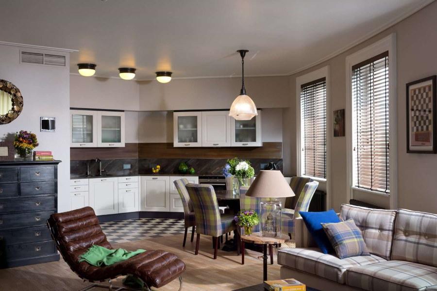 Интерьер кухни-гостиной после перепланировки квартиры