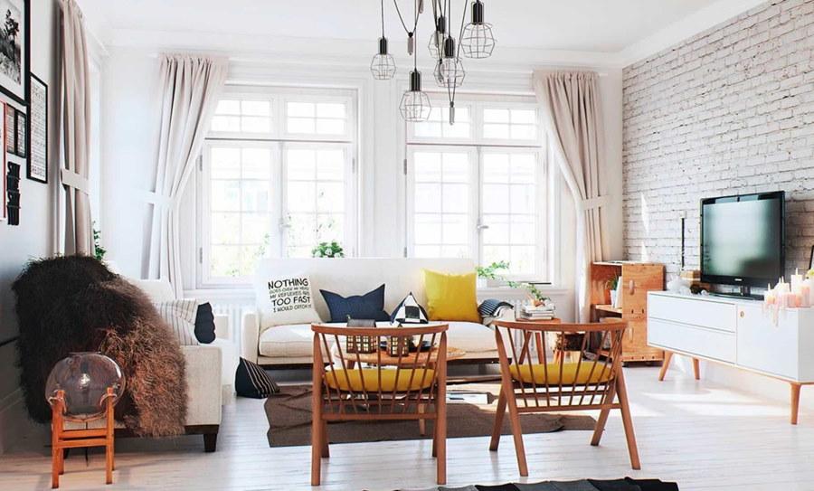 Интерьер гостиной в стиле лофта с двумя окнами