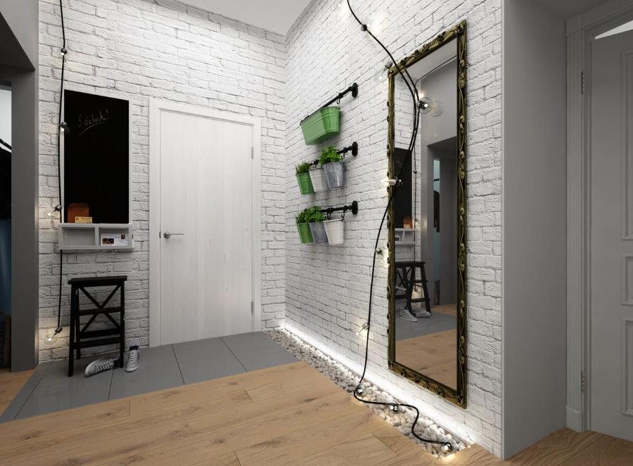 Светлый лофт в современном дизайне коридора