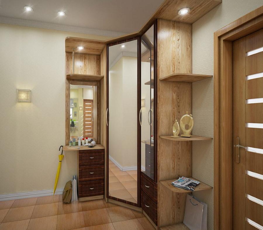Угловой зеркальный шкаф в прихожей комнате
