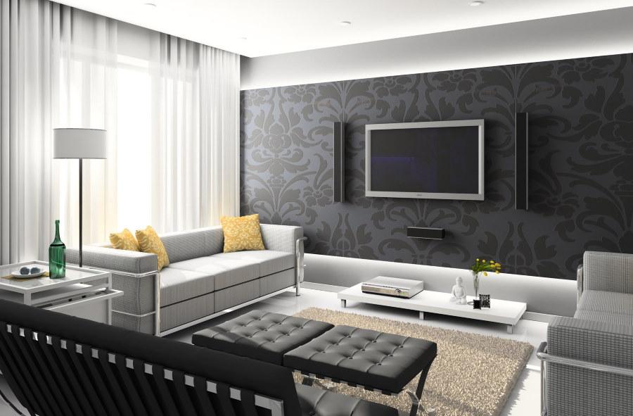Меблировка гостиной в угловой квартире