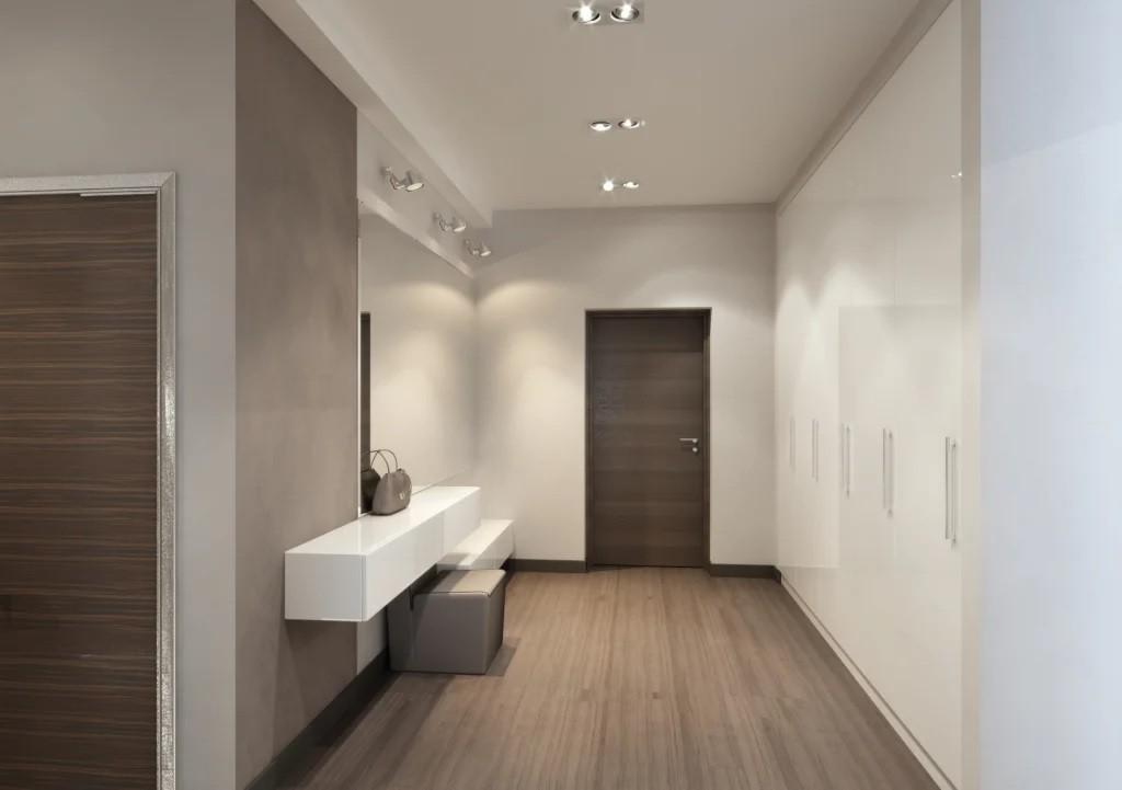 Подвесная тумба в коридоре минималистического стиля