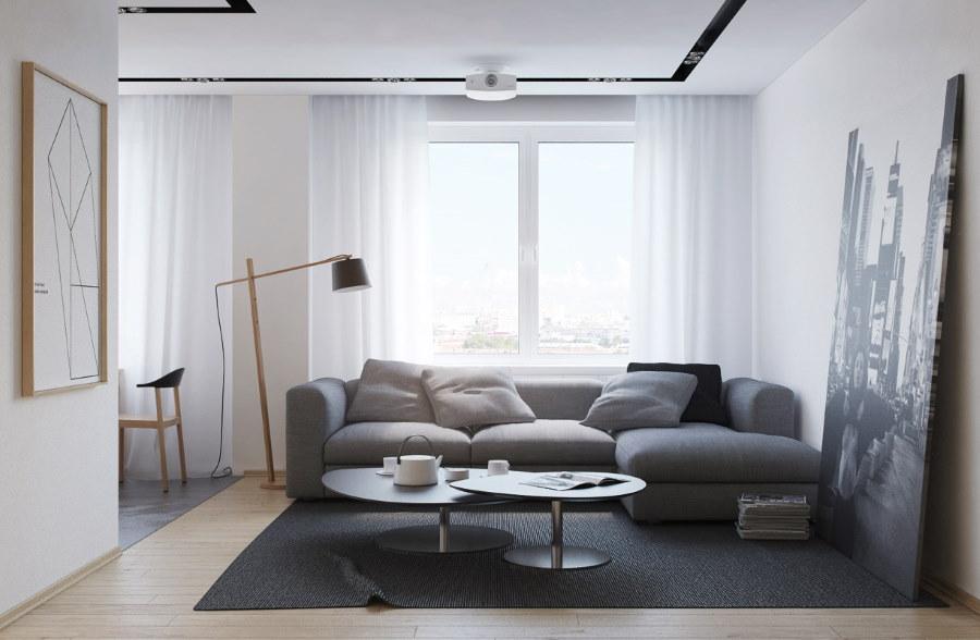 Угловой диван в зале минималистического стиля