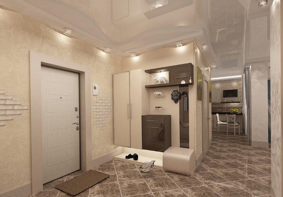 Глянцевый потолок в прихожей стиля модерн