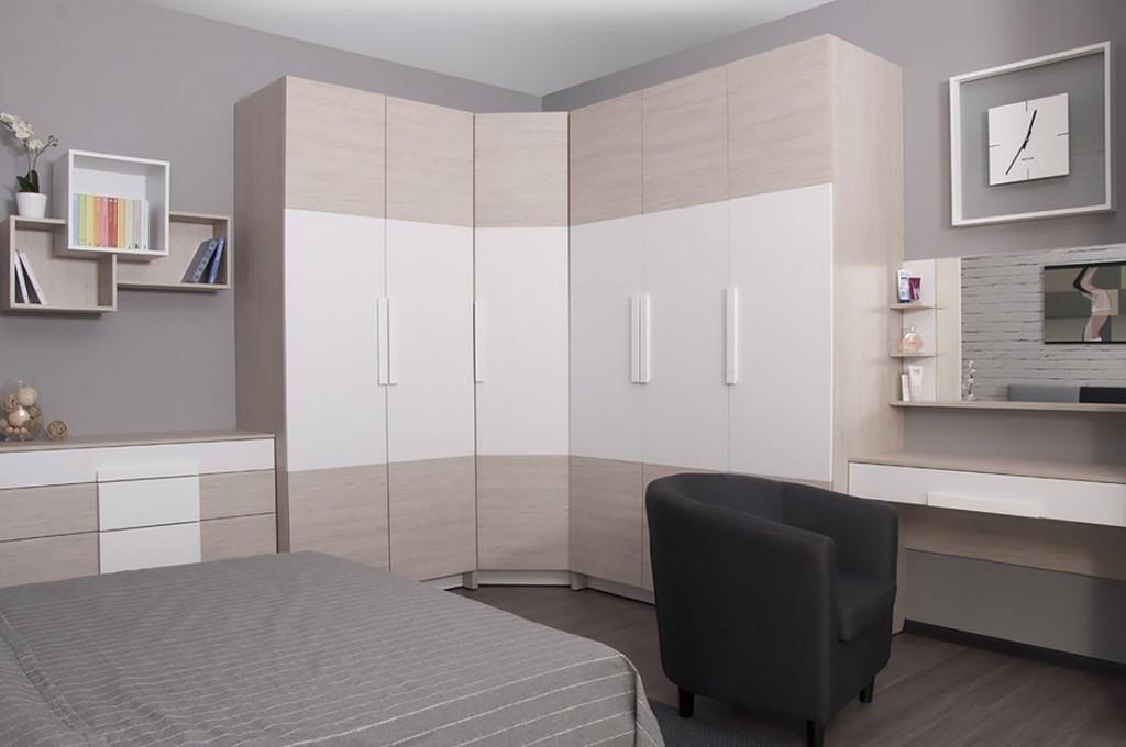 Модульный угловой шкаф с распашными дверками