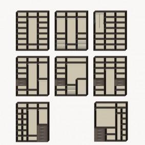 Схема наполнения купейного шкафа с тремя створками