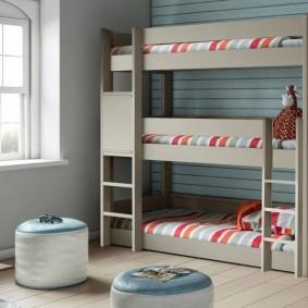 необычная детская кровать трехъярусная