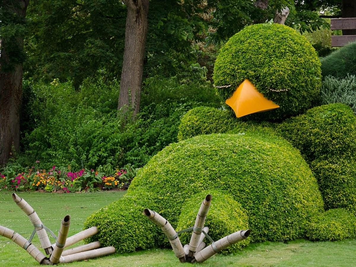 необычный топиарий в саду