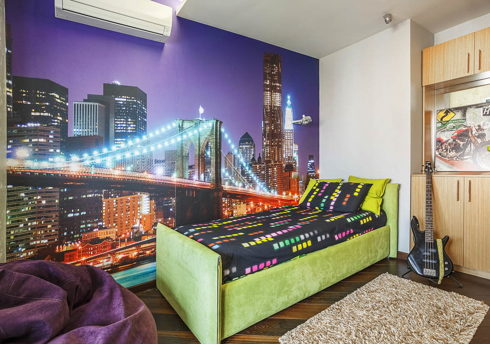 Дизайн детской комнаты с фотообоями Ночной город