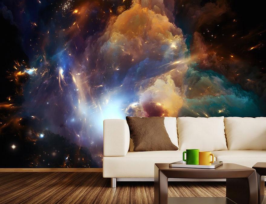 обои космос в гостиной