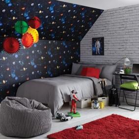 обои космос в комнате идеи дизайна