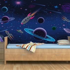 обои космос в комнате декор