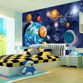 обои космос в комнате фото декора