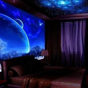 обои космос в комнате декор идеи