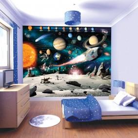обои космос в комнате идеи декор