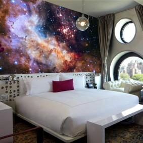 обои космос в комнате интерьер