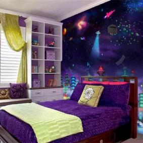 обои космос в комнате фото интерьер
