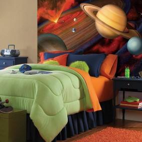 обои космос в комнате фото интерьера