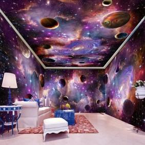 обои космос в комнате идеи интерьера