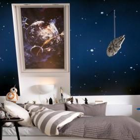 обои космос в комнате оформление