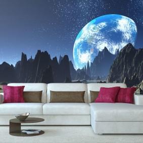 обои космос в комнате оформление идеи
