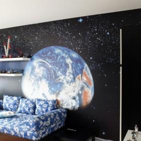 обои космос в комнате варианты