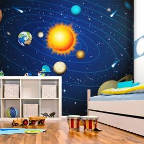 обои космос в комнате варианты фото