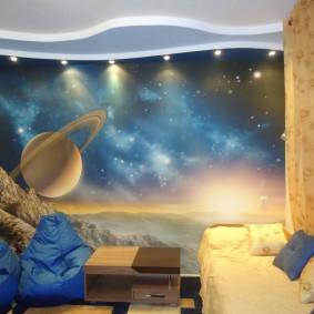 обои космос в комнате идеи варианты