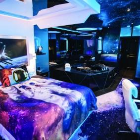 обои космос в комнате дизайн идеи