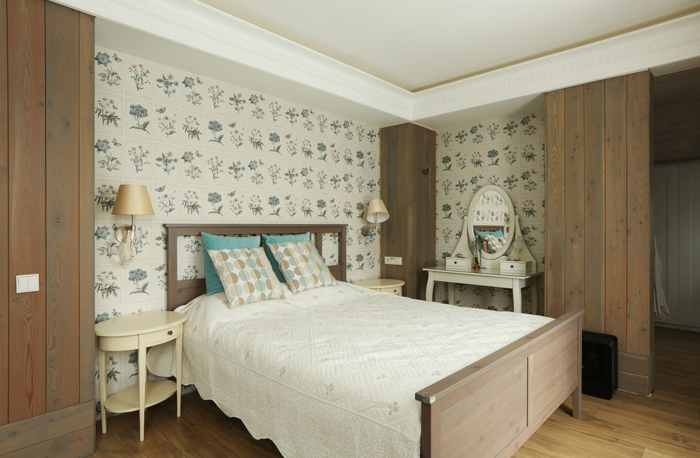 Светлые обои в интерьере современной спальни