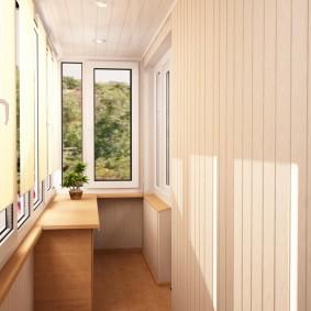 отделка балкона пластиковыми панелями фото интерьера