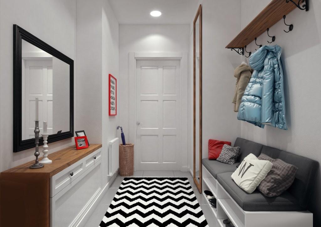 Мягкая скамья с местом для обуви в коридоре