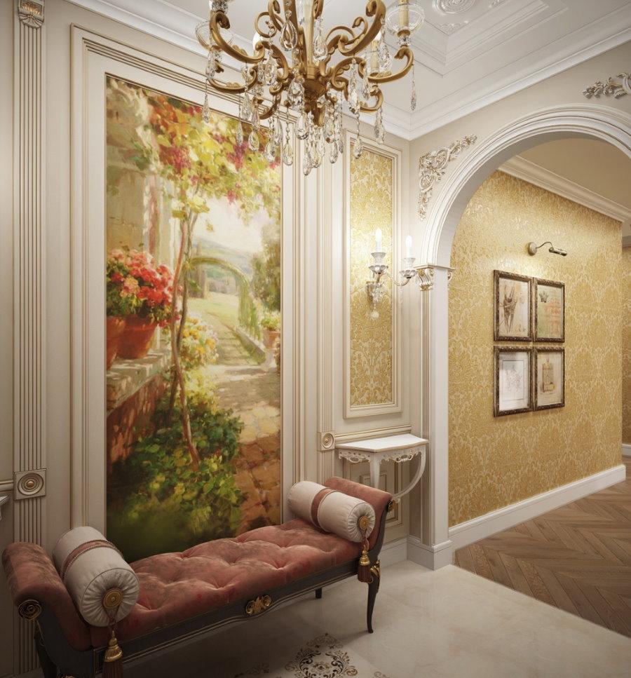 Фреска на стене коридора в стиле классики