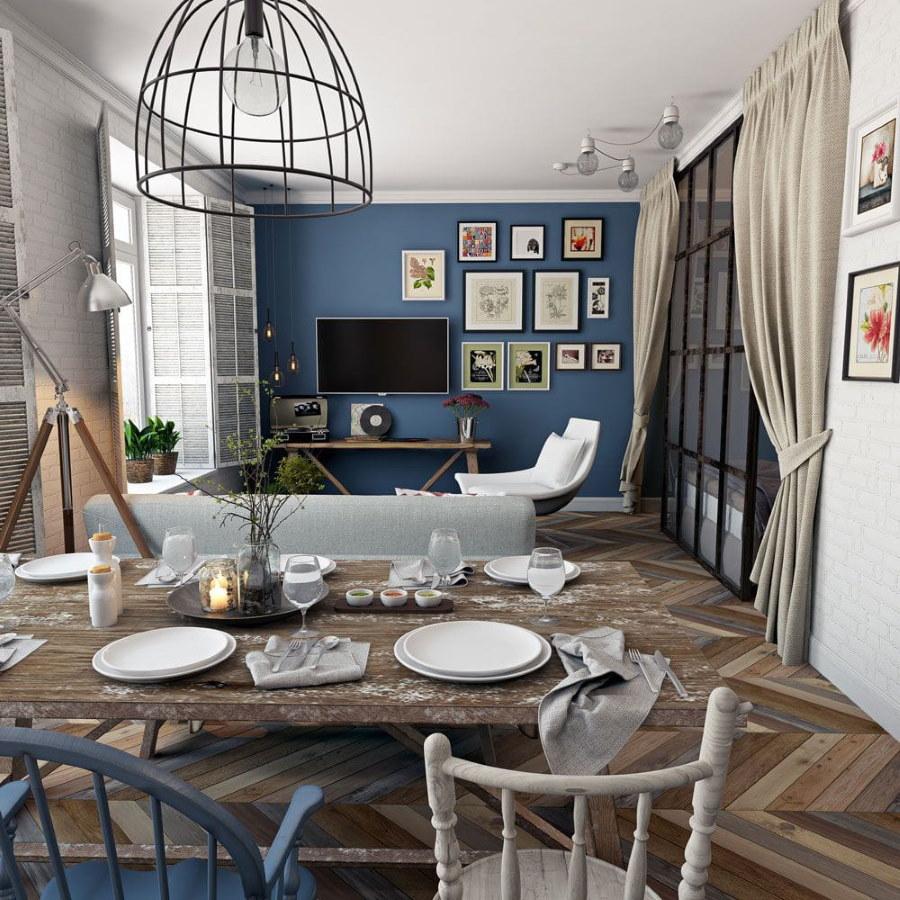Интерьер гостиной-столовой в квартире типовой планировки