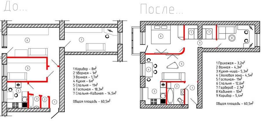 План 3 комнатной хрущевки до и после ремонта