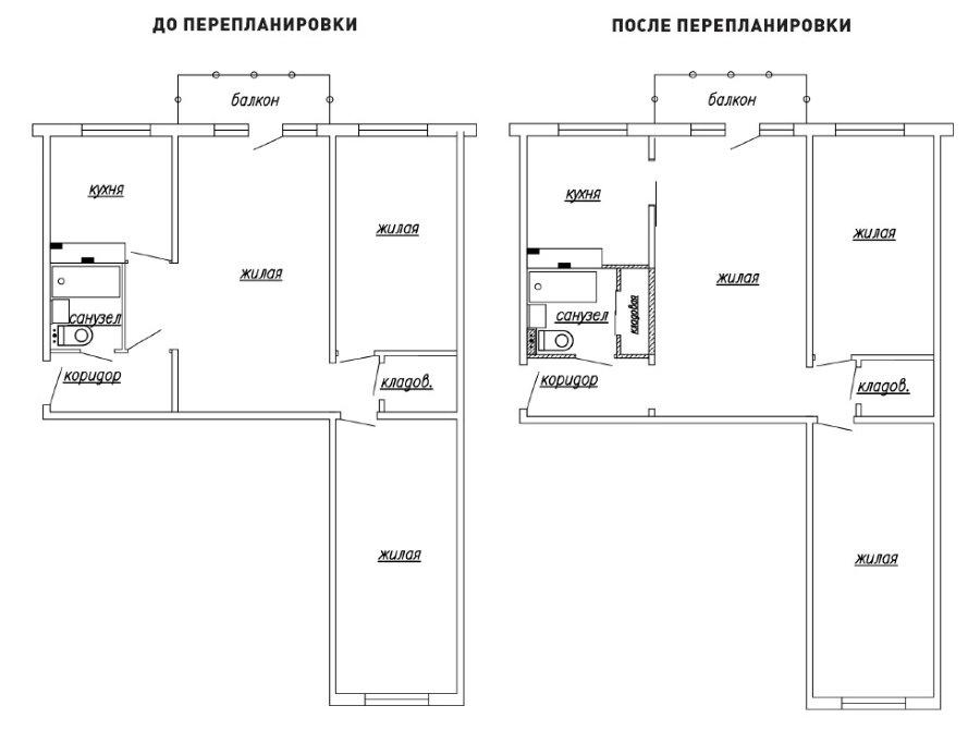 Схема 3-х комнатной квартиры до и после перепланировки