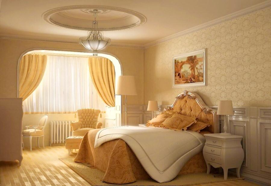 Песочные обои в интерьере спальни